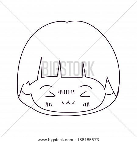 monochrome silhouette of kawaii head of little boy with mushroom hairstyle and facial expression furious in closeup vector illustration