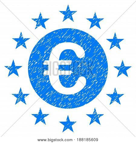 Grunge Euro Union Stars icon with grunge design and dirty texture. Unclean vector blue pictogram for rubber seal stamp imitations and watermarks. Draft sticker symbol.