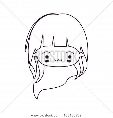 monochrome silhouette of kawaii head little girl with long hair and facial expression exhausted vector illustration