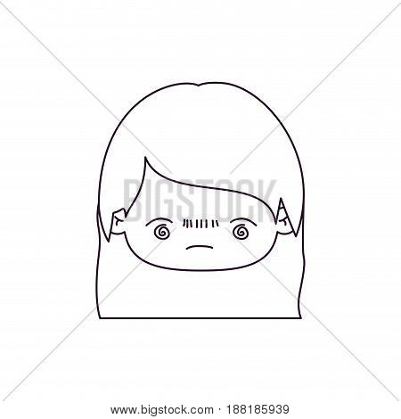 monochrome silhouette of kawaii head little girl with straight hair and facial expression bored vector illustration