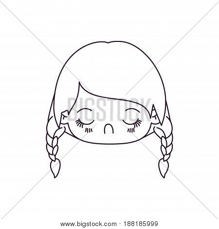 monochrome silhouette of kawaii head little girl with braided hair and facial expression disgust vector illustration