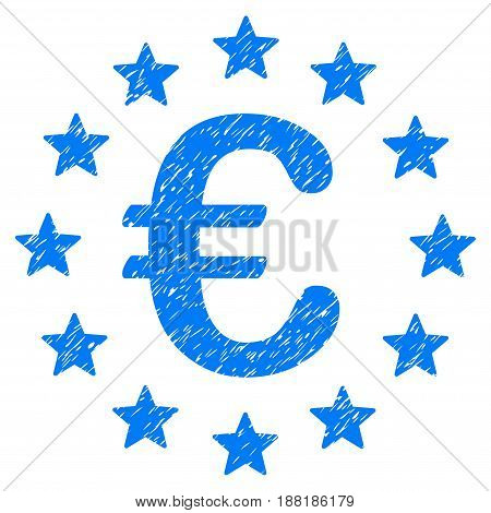 Grunge European Union icon with grunge design and dust texture. Unclean vector blue pictogram for rubber seal stamp imitations and watermarks. Draft sticker symbol.