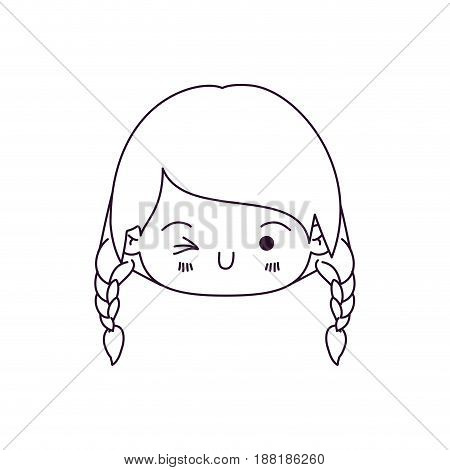 monochrome silhouette of kawaii head little girl with braided hair and facial expression wink eye vector illustration