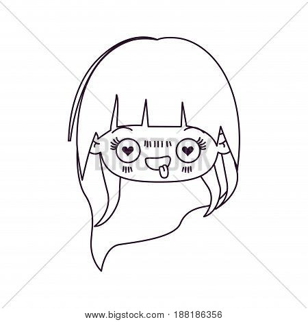 monochrome silhouette of kawaii head little girl with long hair and facial expression enamored vector illustration
