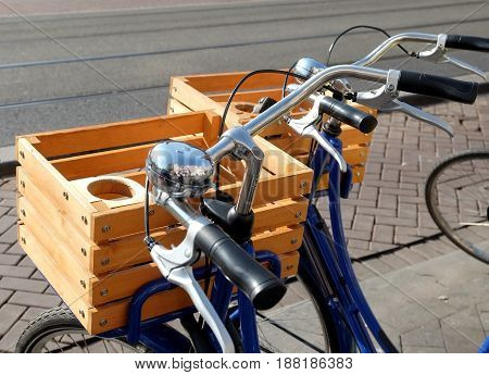AMSTERDAM NETHERLANDS - MAY 13 2017: Baskets for bicycles for breakfast and shopping