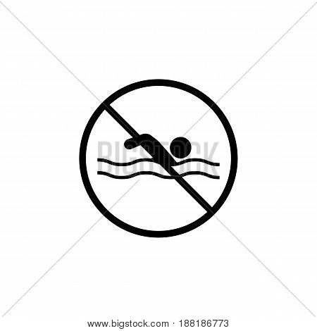No swimming area line icon, prohibition sign, forbidden water contaminated, vector graphics, a linear pattern on a white background, eps 10.