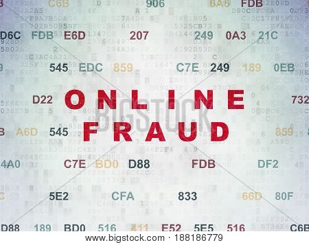 Safety concept: Painted red text Online Fraud on Digital Data Paper background with Hexadecimal Code