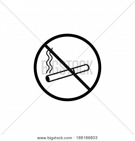 No smoking line icon, prohibition sign, forbidden no smoke, vector graphics, a linear pattern on a white background, eps 10.