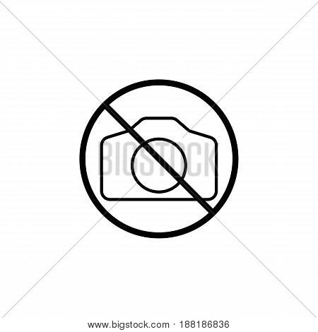 No camera line icon, prohibition sign, forbidden no photo and photography, vector graphics, a linear pattern on a white background, eps 10.