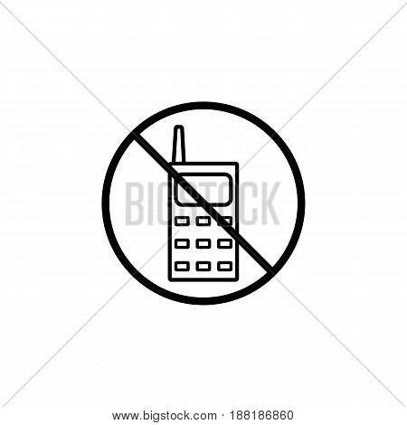 No phone line icon, prohibition sign, forbidden no talking and calling, vector graphics, a linear pattern on a white background, eps 10.