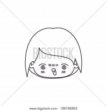monochrome silhouette of kawaii head of little boy with facial expression furious vector illustration