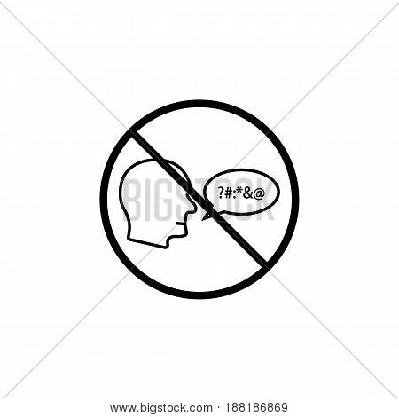 No swearing line icon, prohibition sign, forbidden and stop, vector graphics, a linear pattern on a white background, eps 10.