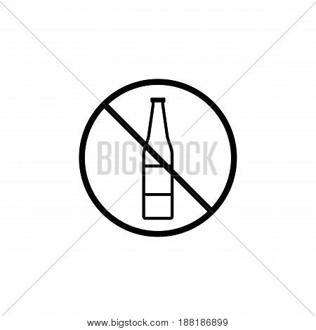 No alcohol line icon, prohibition sign, forbidden no drink, vector graphics, a linear pattern on a white background, eps 10.