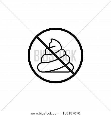 No shit line icon, don't feces prohibition sign, forbidden Clean up after pets symbol, vector graphics, a linear pattern on a white background, eps 10.