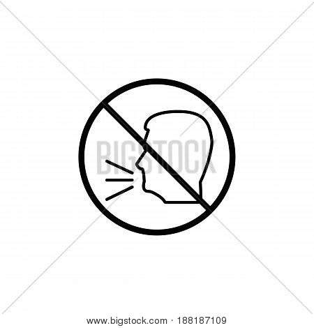 Keep quiet line icon, no speak prohibition sign, forbidden keep silence, vector graphics, a linear pattern on a white background, eps 10.
