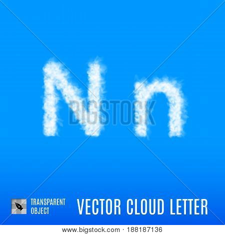 Clouds in Shape of the Letter N on Blue Background