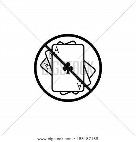 No gambling line icon, prohibition sign, forbidden ban or stop, vector graphics, a linear pattern on a white background, eps 10.