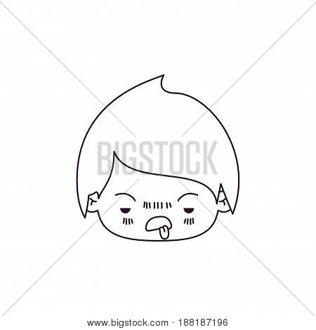 monochrome silhouette of kawaii head of little boy with unpleasant facial expression vector illustration