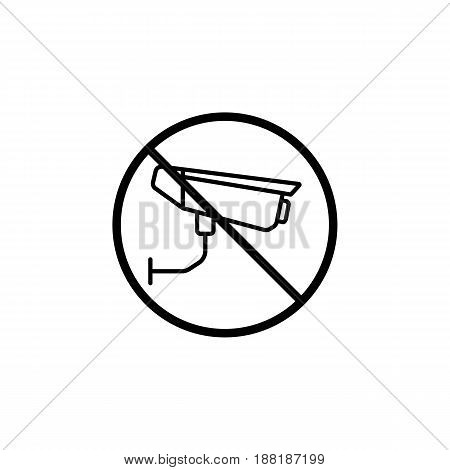 No surveillance line icon, no security camera prohibition sign, forbidden ban or stop, vector graphics, a linear pattern  on a white background, eps 10.