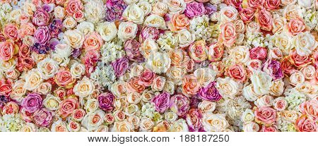 Flowers wall background with amazing red and white roses Wedding decoration hand made