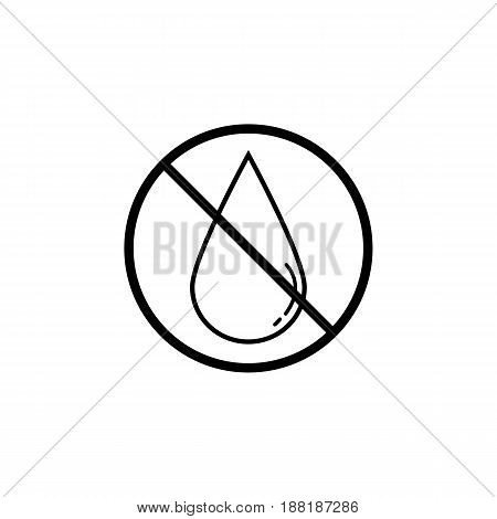 No water drop line icon, prohibition sign, forbidden No wet, vector graphics, a linear pattern on a white background, eps 10.