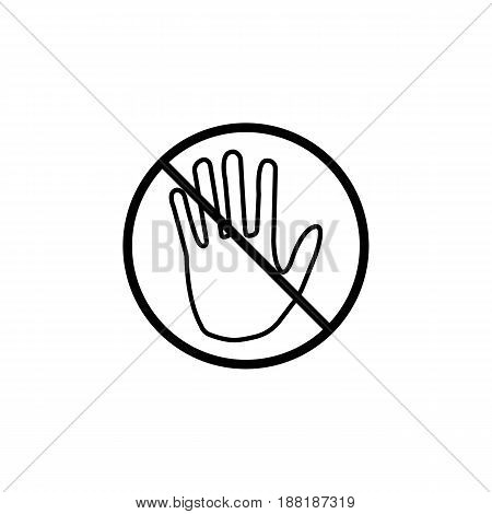 Do not  touch line icon, No entry prohibition sign, forbidden stop fake, vector graphics, a linear pattern on a white background, eps 10.