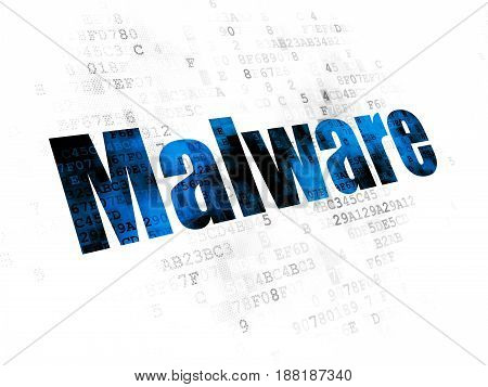 Security concept: Pixelated blue text Malware on Digital background
