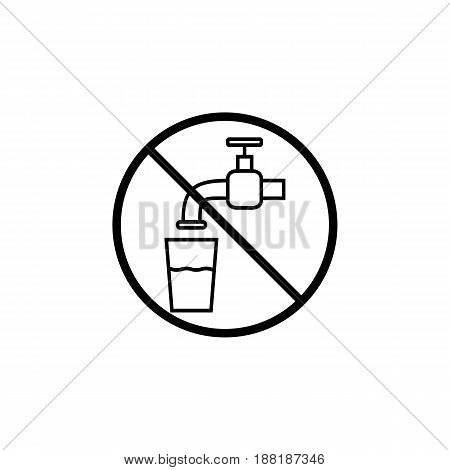 Do not drink water line icon, prohibition sign, forbidden not drinkable, vector graphics, a linear pattern on a white background, eps 10.