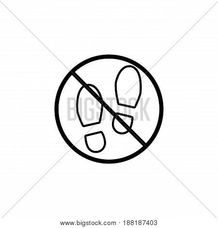 No shoes line icon, prohibition sign, forbidden don't stay, vector graphics, a linear pattern on a white background, eps 10.