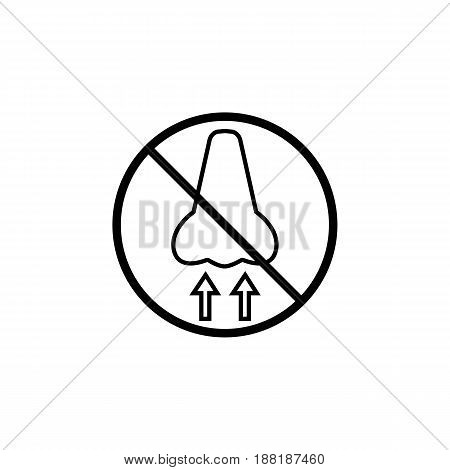 Do not breathe line icon, prohibition sign, forbidden dust hazard, vector graphics, a linear pattern on a white background, eps 10.