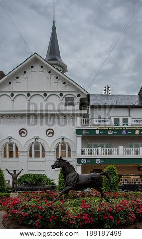 Louisville United States: May 4 2017: Pat Day and Aristides Statue at Churchill Downs