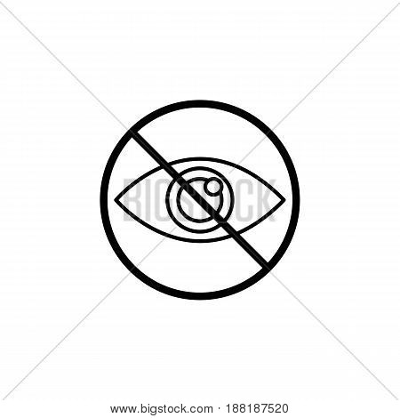 Do not spy line icon, prohibition sign, forbidden don't look, vector graphics, a linear pattern on a white background, eps 10.