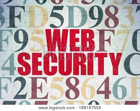 Security concept: Painted red text Web Security on Digital Data Paper background with Hexadecimal Code