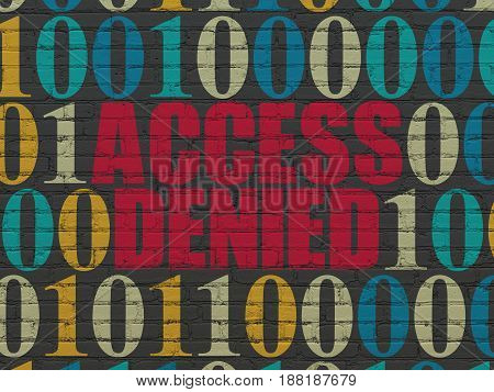 Security concept: Painted red text Access Denied on Black Brick wall background with Binary Code