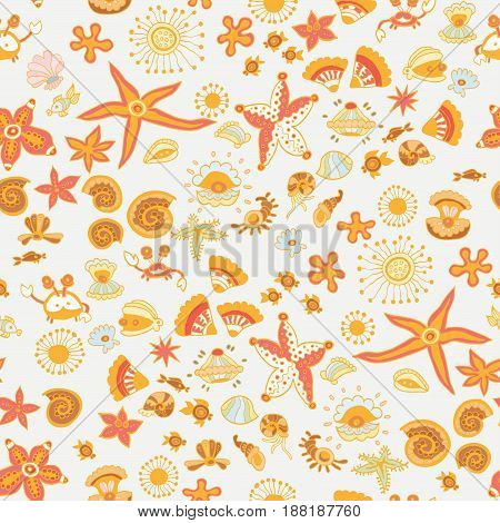 Doodle kids sea animals seamless vector pattern. Repeated underwater texture with cartoon marine characters for children