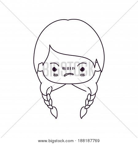 monochrome silhouette of kawaii head little girl with braided hair and facial expression angry vector illustration