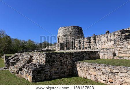 Mayapan ancient maya ruins in Yucatan, Mexico