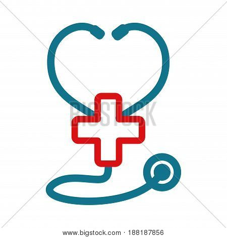 figure medical stethoscope to check cardiac heartbeat with cross symbol, vector illustration