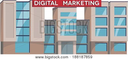 Digital Marketing Institute Building Illustration Vector. Isolated Flat Design. Public educational institution. Modern projects of educational establishments. Front view. College organization