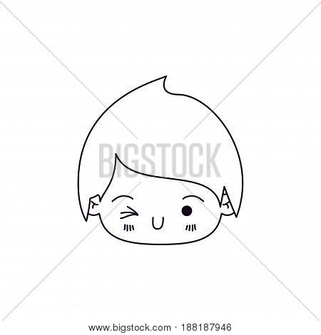 monochrome silhouette of facial expression wink eye kawaii little boy vector illustration