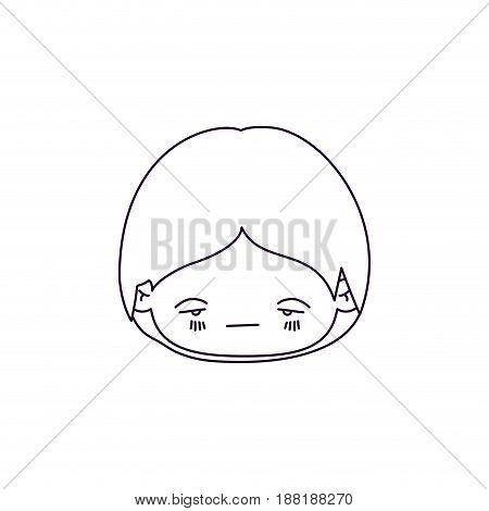 monochrome silhouette of facial expression sad kawaii little boy vector illustration vector illustration