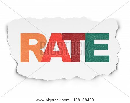 Banking concept: Painted multicolor text Rate on Torn Paper background