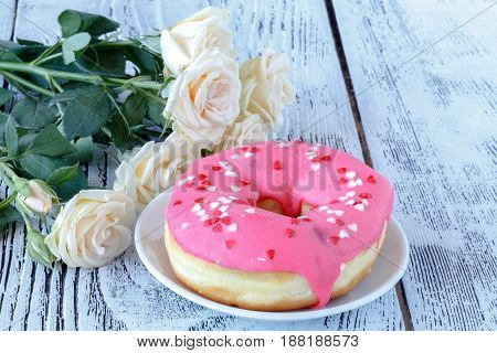 Valentines Day Breakfast Serving With White Roses And Donut