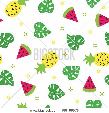 Exotic summer seamless pattern with watermelon and pineapple and white background vector