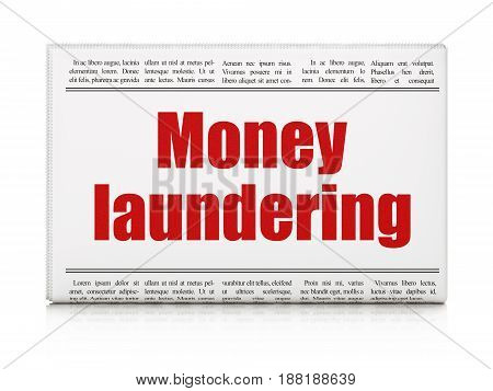 Currency concept: newspaper headline Money Laundering on White background, 3D rendering
