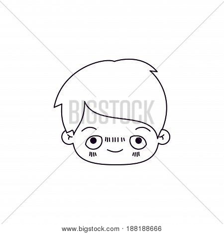 monochrome silhouette of facial expression happy kawaii little boy vector illustration
