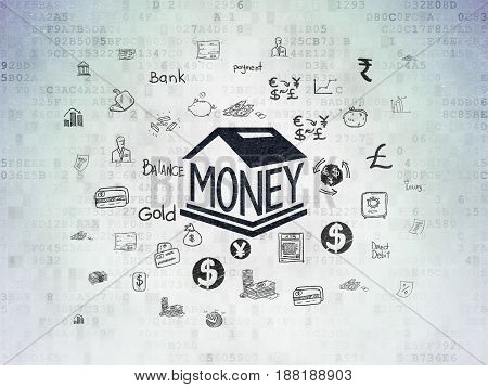 Currency concept: Painted black Money Box icon on Digital Data Paper background with  Hand Drawn Finance Icons