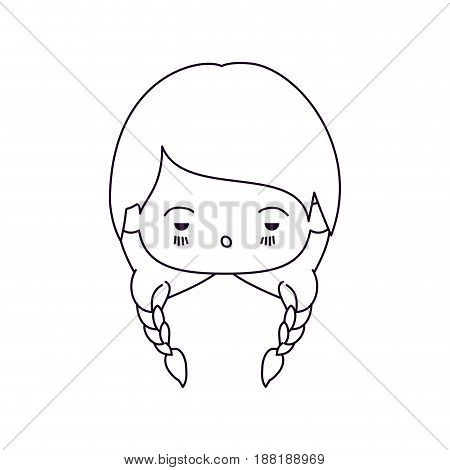 monochrome silhouette of facial expression sad kawaii little girl with braided hair vector illustration