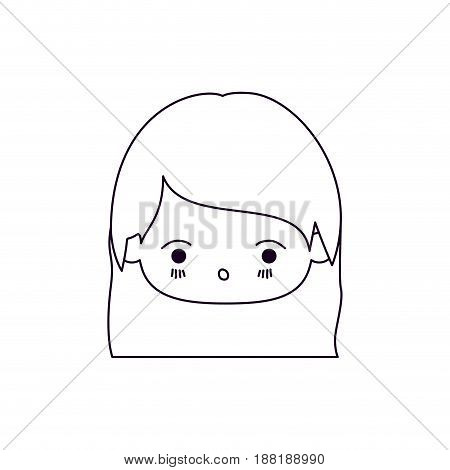 monochrome silhouette of facial expression surprised kawaii little girl with straight hair vector illustration
