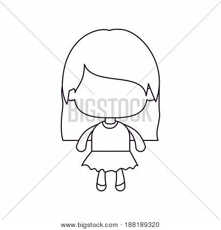 monochrome silhouette of faceless little girl with straight hair vector illustration